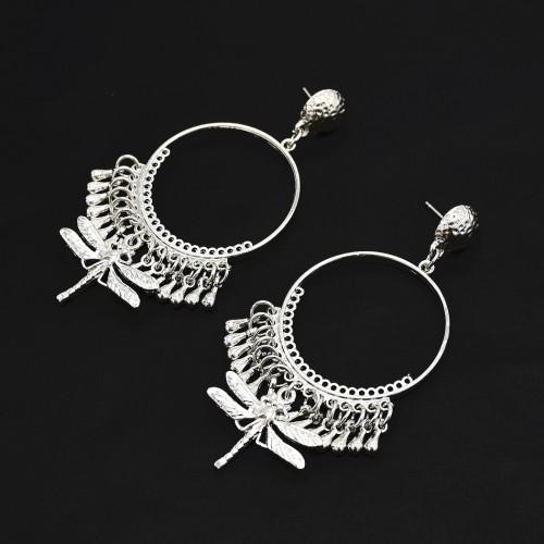E-4925 Ethnic Fringe Round Metal Dragonfly Pendant Drop Dangle Earrings