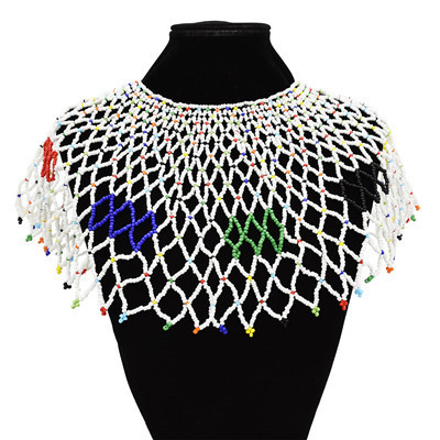 N-7134 Handmade Ethnic Choker Shawl Bib Collar Beads Statement Shawl Boho Jewelry For Women