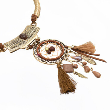 N-7135 3 Colors Bohemain Link Chain Fringe Tassel Pendant Necklaces for Women Wedding Party Jewelry