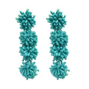 E-4931 Bohemian Drop Beaded Earrings Long Stud Flower Earring for Women