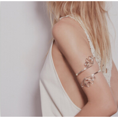 B-0917 New Fashion Indian Retro Trend Silver Gold Metal Adjustable Double Open End Spiral pattern Bracelet Bangle Charming  Armlet