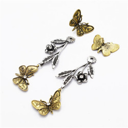 E-4975 Vintage Silver Butterfly Long Earrings For Women Jewelry Design