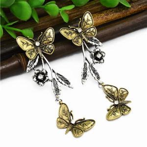 E-4975 Vintage Silver Butterfly Long Earrings For Women Jewelry Design