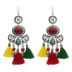 E-4976  Fashion Colorful Cotton Thread Long Tassel Turquoise Drop Earrings for Women Bohemian Party Jewelry