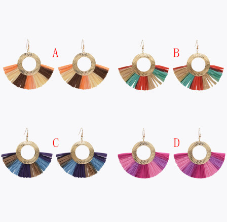E-4986  Fashion Resin Crystal Beads Statement Plastic Tassel Drop Earrings for Women Boho Party Jewelry Gift