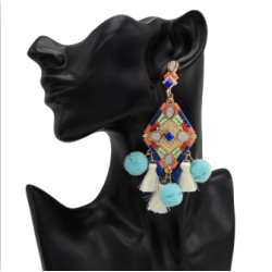 E-4985 4 Colors Fashion Colorful Cotton Thread Little Tassel Pompon Ball Acrylic Beads   Drop Earrings for Women Bohemian Party Jewelry
