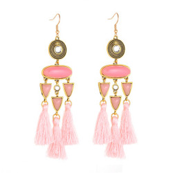 E-4988 Trendy Tassel Diamond Resin Drop Earring For Women
