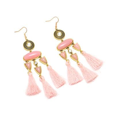 E-4988 Trendy Tassel Diamond Resin Drop Earring For Women