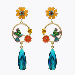 E-4984  Elegant Big Long Drop Earrings Rose Flower Enamel Rhinestone Little Bird Stud Earring for Women