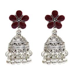 E-4991 5 Colos Enamel Flower Silver Alloy Bells Statement Earrings for Women Boho Wedding Party Jewelry