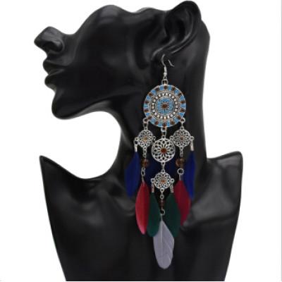 N-7147  E-4989 2 Colors Bohemian New Fashion Charming Feather Jewelry Set Long Tassel Drop Earring&Neclace For Women