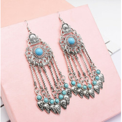 E-4998 Vintage carved Flower Shape Long Drop Earrings for Women Boho Party Jewelry