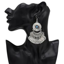 E-4999 Turkish Vintage Silver Retro Coins Tassel Drop Earrings Statement Earrings for Women Boho Wedding Party Jewelry