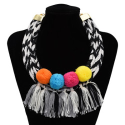 N-7077 Vintage Cloth Alloy Pompom Ball Tassel pendant Necklace Accessories For Women Jewelry