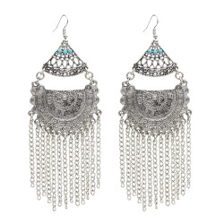 E-5000 Bohemian Vintage Big Drop Dangle Earrings Long Tassels Statement Earrings for Women