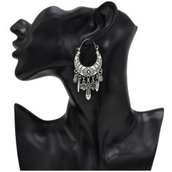 E-5001 Bohemian Vintage Carved Flower Drop Dangle Earrings Long Tassels Statement Earrings for Women
