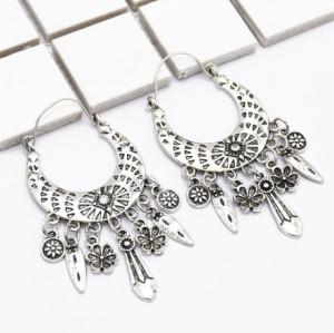 E-5001 Bohemian Vintage Carved Flower Drop Dangle Earrings Long Tassels Statement Earrings for Women