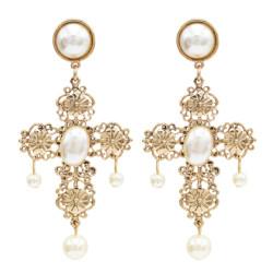 E-5002 Elegant Gold Alloy Cross Shape Pearl Drop Earrings for Women Bridal Wedding Party Jewelry