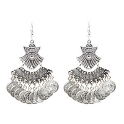 E-5003 Vintage Silver Coins Tassel Drop Earrings Statement Earring
