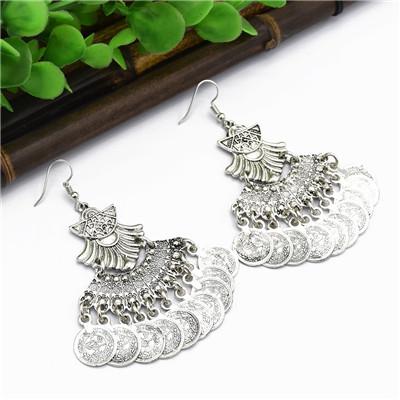E-5003 Vintage Silver Coins Tassel Drop Earrings Statement Earring