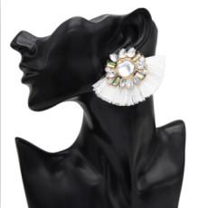 E-5005  Bohemian 4 Colors Big Acrylic Flower Short Tassel  Drop Dangle Earrings Elegant Tassels Statement Earrings for Women