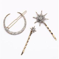 F-0565 3Pcs /Set Vintage Gold Metal Star Moon Rhinestones Hair Clip for Women Hairpins Hair Accessories Ornaments