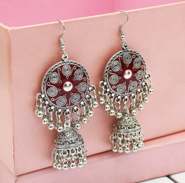 E-5012  6 Colors Boho Silver Metal Bells Statement Drop Dangle Earrings for Women Festival Party Jewelry