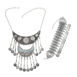 B-0918 N-7155  Bohemian Turkish Vintage Silver Coins Tassel Pendant Necklace Bracelet Jewelry Set for Women