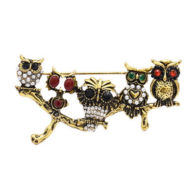 P-0422 Aamazing Vintage Gold Silver Plated Colorful Rhinestones Owls Pin Brooch