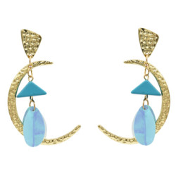 E-5016 New Trendy Gold Metal Moon Shape Acrylic Sequins Drop Earrings for Women Bohemian Wedding Party Jewelry
