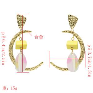 E-5016 New Trendy Gold Metal Moon Shape Acrylic Sequins Drop Earrings for Women Bohemian Wedding Party Jewelry