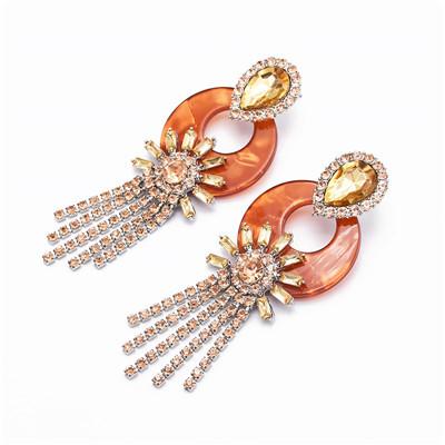 E-5017 4 Colors Resin Tassel Rhinestone Silver Earring For Women Jewelry Design