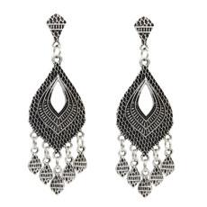 E-5020 Boho Silver Gold Metal Vintage Carved Flower Statement Drop Dangle Earrings for Women Vintage Jewelry