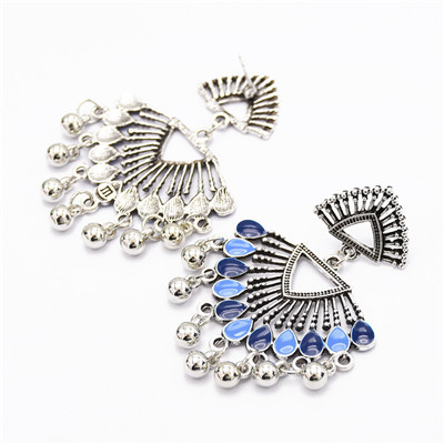 E-5019 Hollow Out Silver Sector Beads Tassel Earring For Women