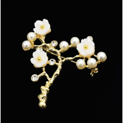 P-0423  Korean Women Fashion Cute Delicate Pearl  Gold Sprig Shaped  Flower Brooches Pin Scarf  Sweater Accessory