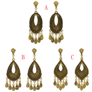 E-5020 Boho Silver Gold Metal Vintage Carved Flower Statement Drop Dangle Earrings for Women Vintage Jewelry