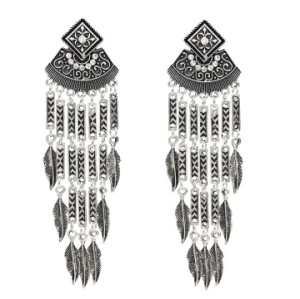 E-5018 Boho Silver Gold Metal Vintage Long Tassel Rhinestone Statement Drop Dangle Earrings for Women Vintage Jewelry