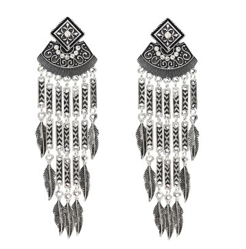 E-5018 Boho Silver Gold Metal Vintage Long Tassel Rhinestone Statement Drop Dangle Earrings for Women Vintage Jewelry