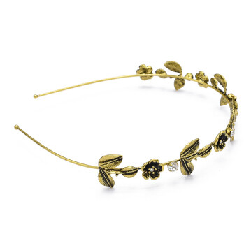 F-0320 Vintage Gold Leaf Flower Rhinestone Hairbands Hair Ornament Headdress Girl Women Hair Jewelry Accessories