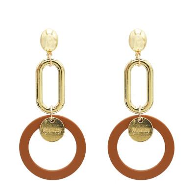 E-5025 Fashion Gold Alloy Drop Earrings Big Long Circle Pendant Stud Earrings for Women