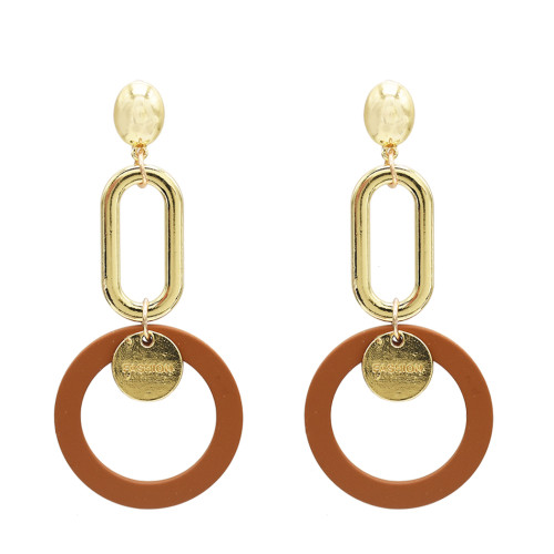 E-5025 Fashion Gold Alloy Drop Earrings Big Long Circle Pendant Stud Earrings for Women