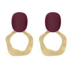 E-5026  4 Colors  Fashion Hollow  Gold Alloy resin  Drop Earrings Big Long Circle Pendant Stud Earrings for Women