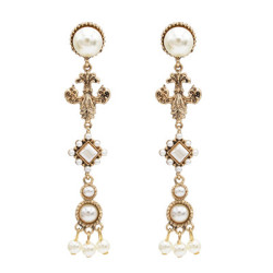 E-5024 Golden Elegant Pearl Long Earrings Tassel Earrings