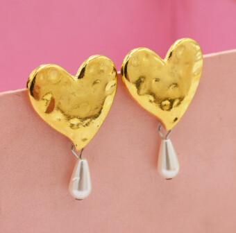 E-5027 New  Fashion Gold Alloy Love Heart Shaped  Drop Earrings Artificial Pearl  Pendant Earrings for Women Valentine's Day Gift