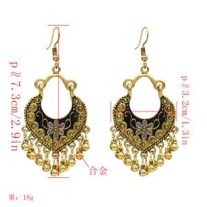E-5032 Vintage Retro Roman Personality Peach Heart Metal Ball Tassel Drop Dangle Earrings Hook Earring for Women