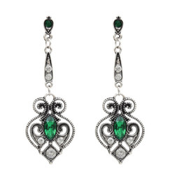 E-5031 3 Colors Hollow Out Vintage Silver Diamond Drop Earring For Women Jewelry Design