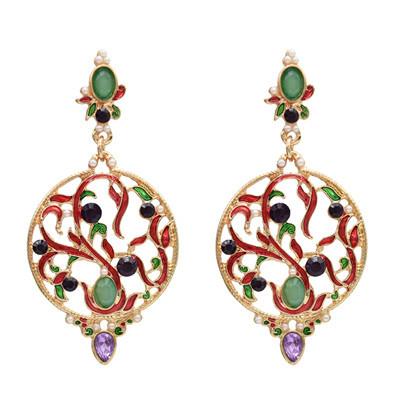 E-5034 Gold Pierced Engraved Diamond Ladies Earrings