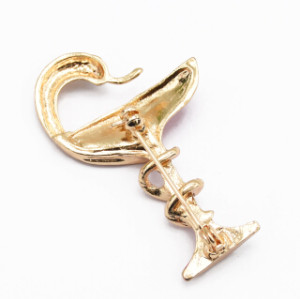 P-0424 Women Wine Glass Snake Brooch Pin Gold Alloy Enamel Party Lapel Pin Brooches Suit Accessories