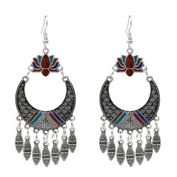 E-5035 Retro Carved Personalized Earring Long Tassel Drop Dangle Earrings For Women