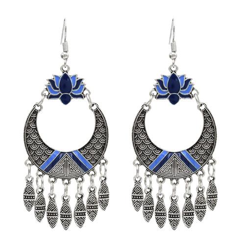 E-5035 Retro Carved Personalized Earring Long Tassel Drop Dangle Earrings For Women